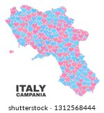 mosaic campania region map of... | Shutterstock .eps vector #1312568444