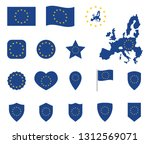 european union flag icons set ... | Shutterstock .eps vector #1312569071