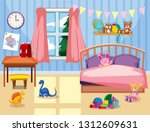 a kids bedroom interior... | Shutterstock .eps vector #1312609631