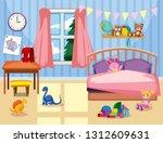 a kids bedroom interior... | Shutterstock .eps vector #1312609631