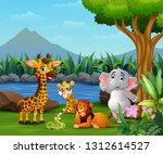 happy wild animal playing on... | Shutterstock .eps vector #1312614527