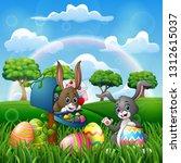 cartoon happy easter with... | Shutterstock .eps vector #1312615037