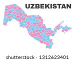 mosaic uzbekistan map of... | Shutterstock .eps vector #1312623401