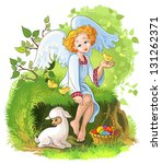 cute angel girl playing with... | Shutterstock .eps vector #131262371