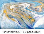 white  blue and gold marbling... | Shutterstock . vector #1312652834