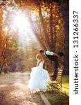 european bride and groom... | Shutterstock . vector #131266337