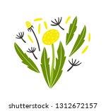 dandelion flower  leaves and...   Shutterstock .eps vector #1312672157