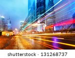 the light trails on the modern... | Shutterstock . vector #131268737