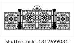 black silhouette of gothic... | Shutterstock .eps vector #1312699031