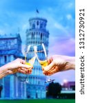 pisa italy tower with glasses... | Shutterstock . vector #1312730921