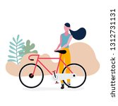 lifestyle teenage with bicycle... | Shutterstock .eps vector #1312731131