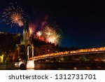 fireworks lit up night sky over ... | Shutterstock . vector #1312731701
