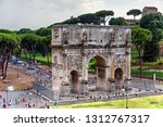 rome   italy july 2018  arch of ... | Shutterstock . vector #1312767317