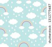 seamless pattern. cloud rainbow ... | Shutterstock .eps vector #1312775687
