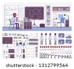 male black scientist working in ... | Shutterstock .eps vector #1312799564