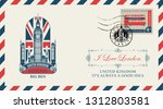 vector postcard or envelope... | Shutterstock .eps vector #1312803581