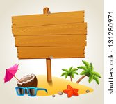 wood sign in the beach icon | Shutterstock .eps vector #131280971