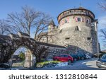 medieval castle on a mountain...   Shutterstock . vector #1312810844