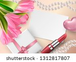 bright banner with 3d realistic ... | Shutterstock .eps vector #1312817807