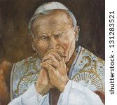 Pope John Paul Ii Praying...