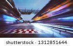 Motion Blurred Racetrack With...
