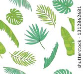 tropical palm  monstera ... | Shutterstock . vector #1312862681