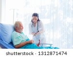 the doctor is diagnosing the... | Shutterstock . vector #1312871474