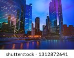 night view of chicago downtown... | Shutterstock . vector #1312872641