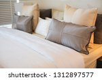 bed maid up with clean white... | Shutterstock . vector #1312897577