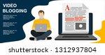 blogging  blogger. freelance.... | Shutterstock .eps vector #1312937804
