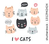 Stock vector funny cats collection pet vector illustration cartoon doodle animals images with i love cats sign 1312942424