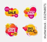 set of sale badges with liquid... | Shutterstock .eps vector #1312968071