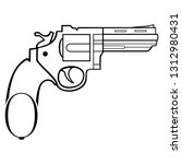 revolver. the silhouette of the ... | Shutterstock .eps vector #1312980431