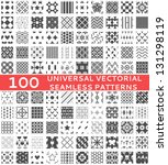 100 Universal different vector seamless patterns (tiling). Endless texture can be used for wallpaper, pattern fills, web page background,surface textures. Set of monochrome geometric ornaments. | Shutterstock vector #131298119