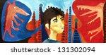 face  lizard  city  painting | Shutterstock . vector #131302094
