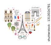 paris city travel illustrations.... | Shutterstock .eps vector #1313026781