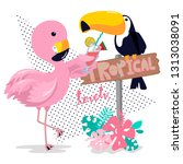 flamingo feed drink to toucan... | Shutterstock .eps vector #1313038091
