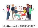 boy with tie and girl with rose ... | Shutterstock . vector #1313045327