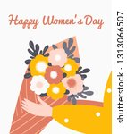 female hand holding a bouquet... | Shutterstock .eps vector #1313066507