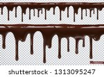 dripping chocolate. melt drip.... | Shutterstock .eps vector #1313095247