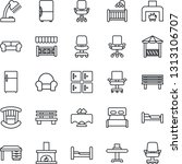 thin line icon set   bed vector ... | Shutterstock .eps vector #1313106707