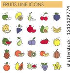 fruit icons set on white... | Shutterstock .eps vector #1313129774