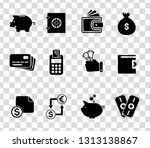 vector piggy banking icons set  ... | Shutterstock .eps vector #1313138867