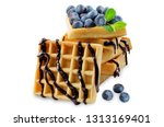 waffeles berries and mint leaf... | Shutterstock . vector #1313169401