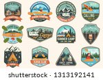 set of summer camp  canoe and... | Shutterstock .eps vector #1313192141