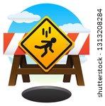 street barrier with falling... | Shutterstock .eps vector #1313208284