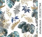 seamless background dark leaves ... | Shutterstock .eps vector #1313217764