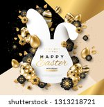 easter card with bunny rabbit... | Shutterstock .eps vector #1313218721