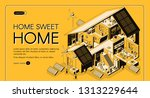 energy self sufficient house... | Shutterstock .eps vector #1313229644