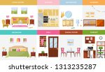 set of 8 interior design house... | Shutterstock .eps vector #1313235287